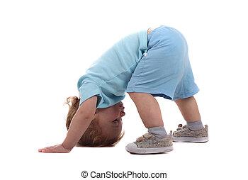 Little boy upside-down