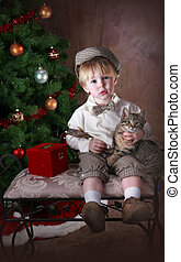 Little Boy waiting for Santa