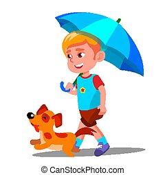 Little Boy Walking A Dog Under Umbrella In The Rain Vector. Isolated Illustration