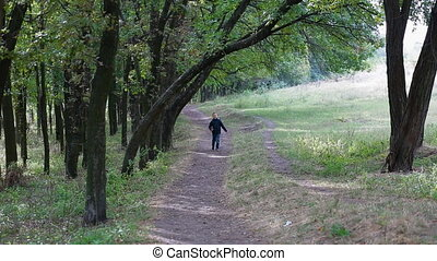 Little boy walking happile on the path