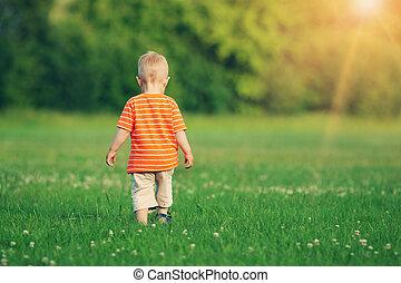 Little boy walking on the field