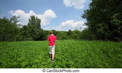 Little boy walks by grass glade, view from behind