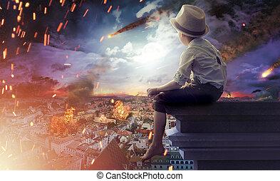Little boy watching the end of the world - Little boy...
