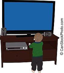 Little Boy watching TV