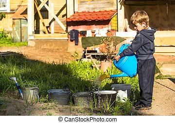 Little boy watering a flower bed near the village house.