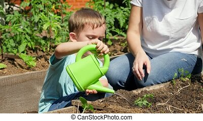 Boy watering garden with watering can. CHild helping mother working at garden and taking care of growing vegetable sprouts and seedlings