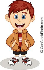 Little boy wearing a brown jacket