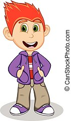 Little boy wearing a purple jacket