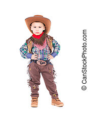 Little boy wearing cowboy suit