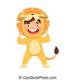 Little Boy Wearing Lion Costume Laughing and Having Fun Vector Illustration