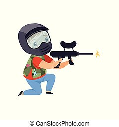 Little boy wearing mask and vest aiming with gun, paintball player vector Illustration on a white background