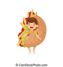 Little boy wearing Mexican fajita costume. Cheerful kid in carnival outfit. Cartoon character. Flat vector design