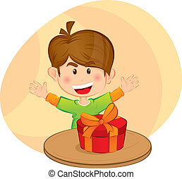 Little boy with a gift
