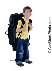 Little boy with a large tourist backpack
