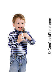 Little boy with a microphone. Isolated on white