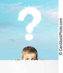 Little boy with a question mark above head