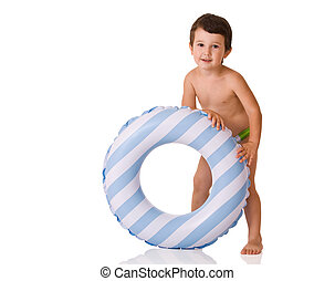 Little boy with a rubber ring