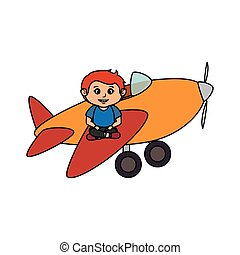 little boy with airplane toy