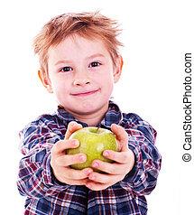 Little boy with apple.