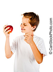 little boy with apple