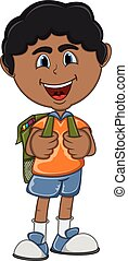 Little boy with backpack cartoon