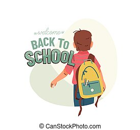 Little boy with backpack go to school for the first time. ...