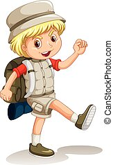 Little boy with backpack going camping illustration