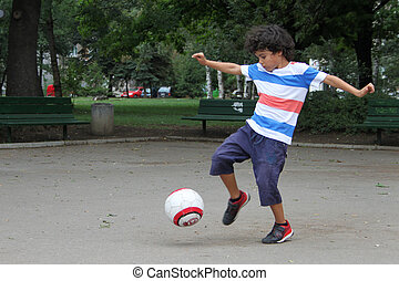 Little boy with ball