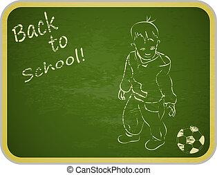 little boy with ball on retro school board background