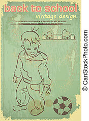 little boy with ball on vintage background