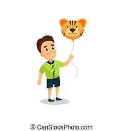 Little boy with balloon in the shape of tiger vector Illustration on a white background