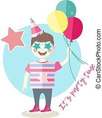Little boy with balloons having fun