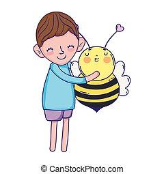 little boy with bee kawaii character
