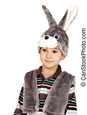 little boy with big eyes in a suit of a rabbit