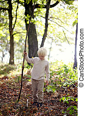 Little Boy with Big Stick Walking in the Woods