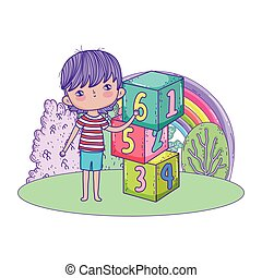 little boy with blocks numbers in the field