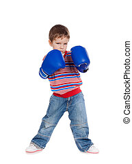 Little boy with boxing gloves
