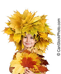 boy with chaplet of yellow maple leaves