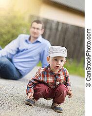 Little boy with dad