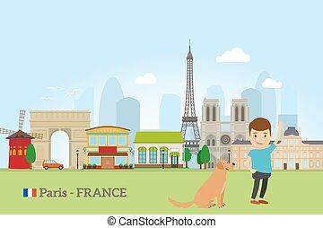 Little boy with dog in Paris