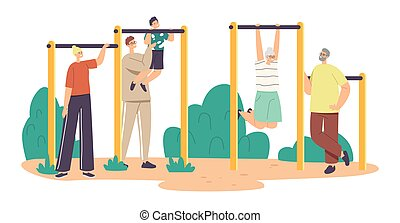 Little Boy With Father, Mother and Grandparents Exercising Outdoor. Son with Dad Help Catch Up on the Horizontal Bar