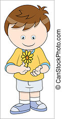 Little Boy with Flower Vector