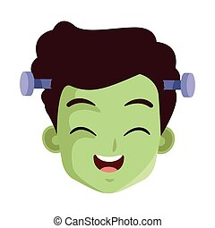 little boy with frankenstein costume head character
