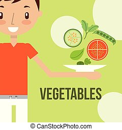 little boy with fresh vegetable healthy food