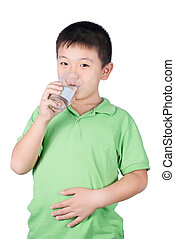 little boy with glass of water isolated on the white background