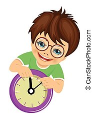 little boy with glasses showing arrows on the wall clock