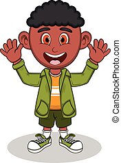 Little boy with green jacket