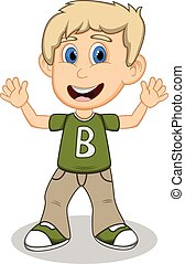 Little boy with green shirt and gray trousers waving his...