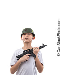 little boy with gun isolated on white background with copyspace.