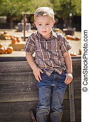 Little Boy With Hands in His Pockets at Pumpkin Patch